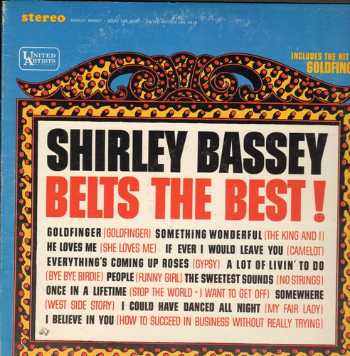Bassey, Shirley - Shirley Bassey Belts The Best!: Goldfinger, Everything's Coming Up Roses, People, Somewhere, I Could Have Danced All Night, A Lot Of Livin' To Do (vinyl STEREO LP record) - NM9/VG7 - LP Records