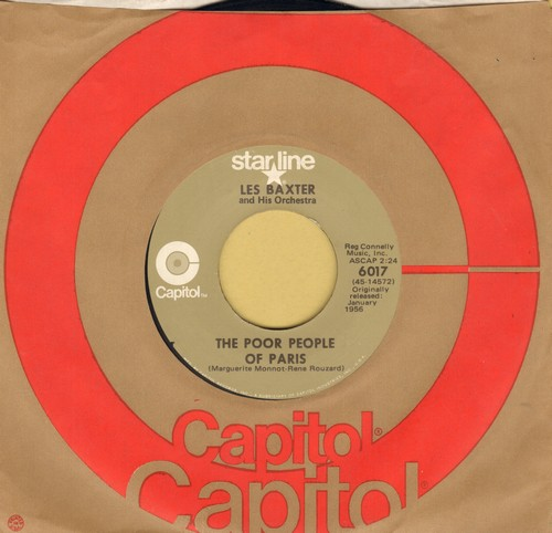 Baxter, Les & His Orchestra - The Poor People Of Paris/April In Portugal (double-hit re-issue with Capitol company sleeve) - NM9/ - 45 rpm Records