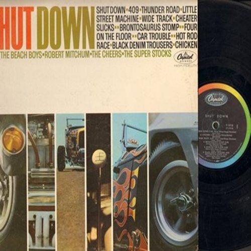 Beach Boys, Robert Mitchum, Cheers, Super Stocks - Shut Down: 409, Thunder Road, Car Trouble, Chicken, Black Denim Trousers (vinyl MONO LP record) - VG7/VG7 - LP Records