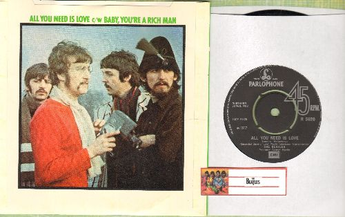 Beatles - All You Need Is Love/Baby You're A Rich Man (British Pressing with sleeve, removable spindle adaptor) - NM9/NM9 - 45 rpm Records