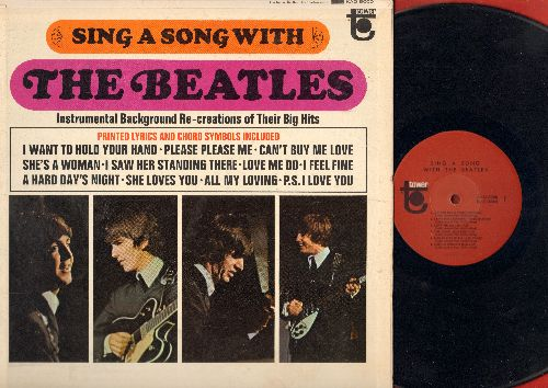 Beatles - Sing A Song With The Beatles - Instrumental Background Re-Creations: She Loves You, I Want To Hold Your Hand, Can't Buy Me Love, I Feel Fine (vinyl LP record, gate-fold cover with song lyrics) - EX8/EX8 - LP Records