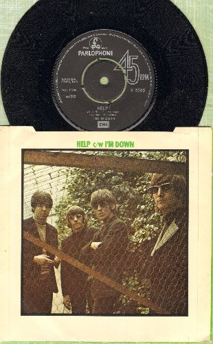 Beatles - Help/I'm Down (British Pressing with picture sleeve, removable spindle-adapter) - NM9/EX8 - 45 rpm Records