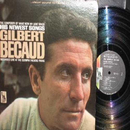 Becaud, Gilbert - His Newest Songs (recorded live at The Olympia Theatre in Paris): Nathalie, Je T'aime (I Love You), Les Jours Meilleurs (The Better Days), Le Petit Oiseau De Toutes Les Couleurs (The Colorful Little Bird) (vinyl STEREO LP record) - NM9/E