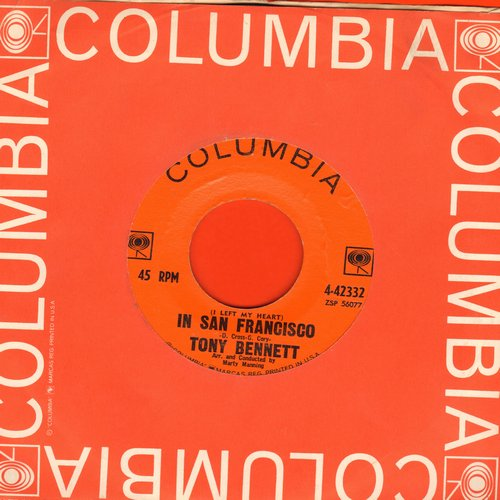 Bennett, Tony - I Left My Heart In San Francisco/Once Upon A Time (Orange Label 1960s pressing with Columbia company sleeve) - EX8/ - 45 rpm Records