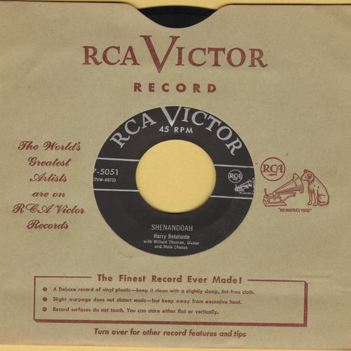 Belafonte, Harry - Shenandoah/Sarlet Ribbons (with vintage RCA company sleeve) - EX8/ - 45 rpm Records