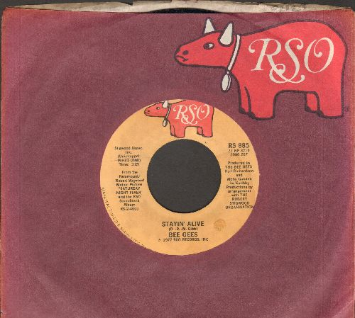Bee Gees - Stayin' Alive/If I Can't Have You (with RSO company sleeve) - M10/ - 45 rpm Records