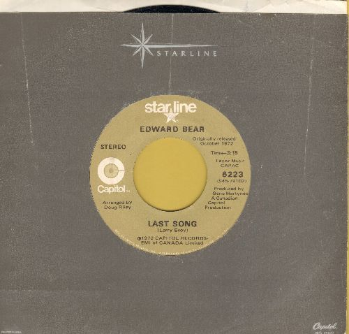 Bear, Edward - Close Your Eyes/Last Song (double-hit re-issue with Capitol company sleeve) - EX8/ - 45 rpm Records