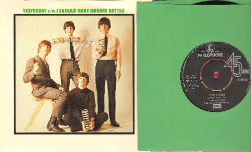 Beatles - Yesterday/I Should Have Known Better (British Pressing with picture sleeve) - NM9/NM9 - 45 rpm Records