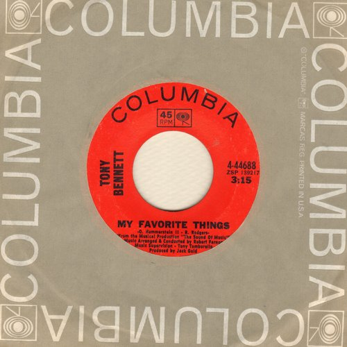 Bennett, Tony - My Favorite Things/Hushabye Mountain (with Columbia company sleeve) - NM9/ - 45 rpm Records