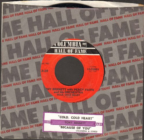 Bennett, Tony - Cold, Cold Heart/Because Of You (double-hit re-issue of vintage 1951 recordings) - NM9/ - 45 rpm Records