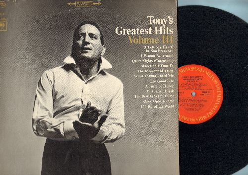 Bennett, Tony - Tony's Greatest Hits Vol 3: A Taste Of Honey, (I Left My Heart) In San Francisco, The Best Is Yet To Come, When Joanna Loved Me 9vinyl STEREO LP record) - EX8/EX8 - LP Records