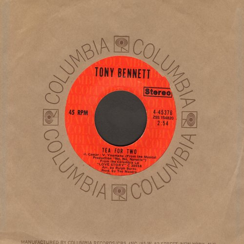 Bennett, Tony - Tea For Two/I Want To Be Happy (with Columbia company sleeve) - EX8/ - 45 rpm Records