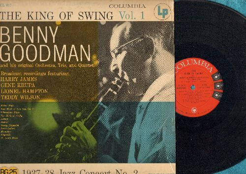 Goodman, Benny - The King Of Swing Vol. 1: St. Louis Blues, Ridin' High, The Sheik Of Araby, Always, Nice Work If You Can Get It (vinyl MONO LP record, red label, 6 eyes, 1956 first pressing) - EX8/VG7 - LP Records