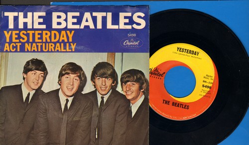 Beatles - Yesterday/Act Naturally (yellow/orange swirl first issue with picture sleeve) - NM9/EX8 - 45 rpm Records