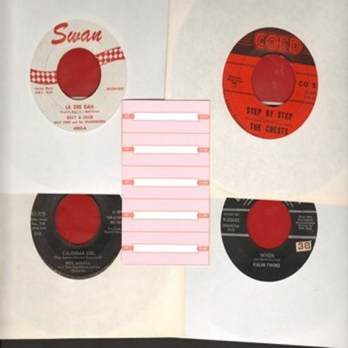 Billy & Lillie, Crests, Kalin Twins, Neil Sedaka - Set of 4 first issue 45s with 5 blank juke box labels, exactly as pictured. NICE set of Vintage Hits for a juke box or to add to your collection. Shipped in plain white sleeves. - EX8/ - 45 rpm Records