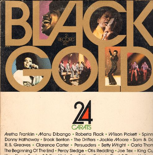 Franklin, Aretha, Percy Sledge, Carla Thomas, others - Black Gold: Soul Man, There Goes My Baby, Green Onions, Groove Me (2 vinyl STEREO LP records) - EX8/VG7 - LP Records