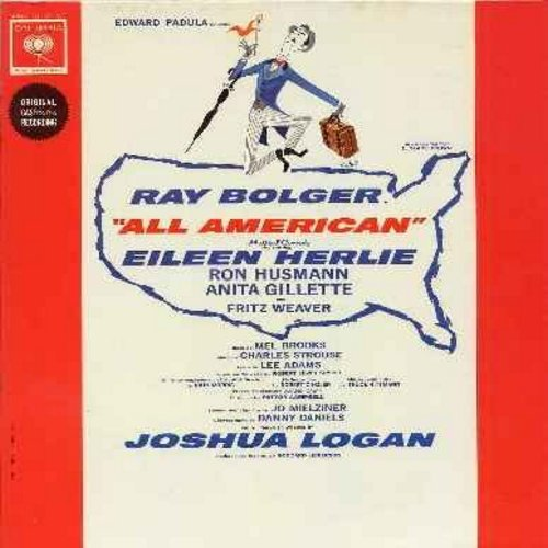 Bolger, Ray, Eileen Herlie, Ron Husmann, Anita Gilette, Fritz Weaver - All American - Original Broadway Cast Recording (vinyl MONO LP record, gate-fold cover with illustrated pages) - NM9/NM9 - LP Records