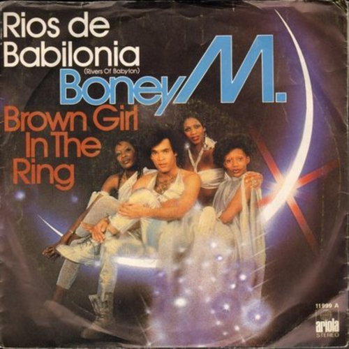 Boney M. - Rios de Babilonia (Rivers Of Babylon)/Brown Girl In The Ring (Spanish Pressing with picture sleeve, sung in English) - M10/EX8 - 45 rpm Records