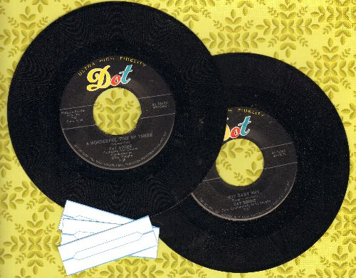 Boone, Pat - 2 for 1 Special: A Wonderful Time Up There/Why Baby Why (2 vintage first issue 45rpm records with 3 blank juke box labels for the price of 1!) - NM9/ - 45 rpm Records