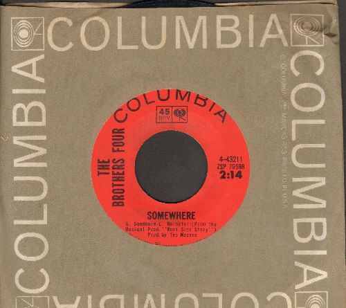 Brothers Four - Somewhere/Turn Around (with Columbia company sleeve) - NM9/ - 45 rpm Records
