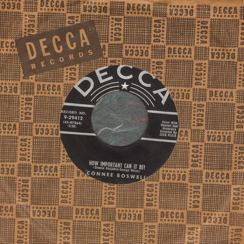 Boswell, Connee - How Important Can It Be?/Fill My Heart With Happiness (with Decca company sleeve) - EX8/ - 45 rpm Records