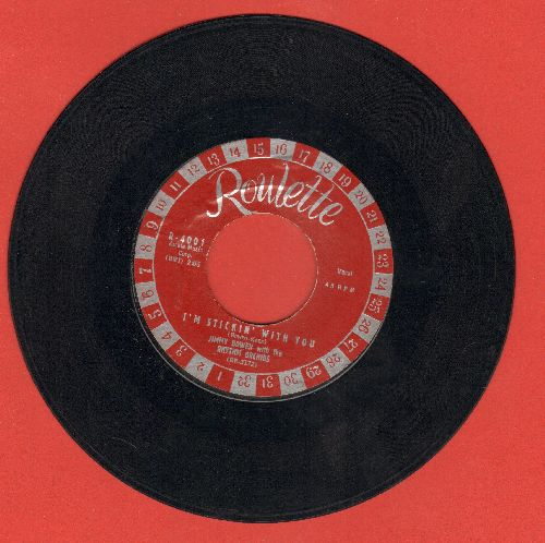 Bowen, Jimmy & The Rhythm Orchids - I'm Stickin' With You/Ever Lovin' Fingers (EARLY Pressing, burgundy label with large silver roulette numbers!) - EX8/ - 45 rpm Records