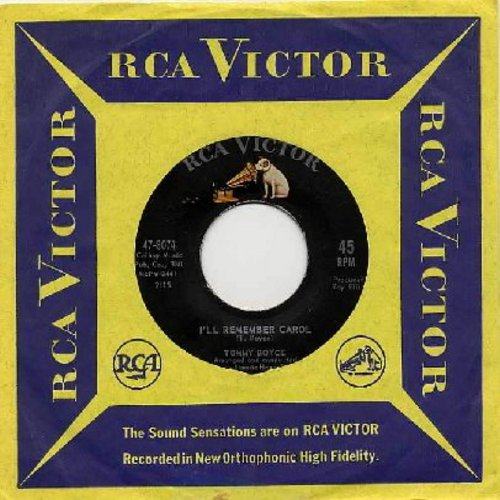 Boyce, Tommy - I'll Remember Carol (FANTASTIC Vintage Teen Idol Sound!)/Too Late For Tears (with RCA company sleeve) - EX8/ - 45 rpm Records
