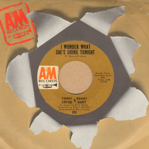 Boyce & Hart - I Wonder What She's Doing Tonight/The Ambushers (with A&M company sleeve) - EX8/ - 45 rpm Records