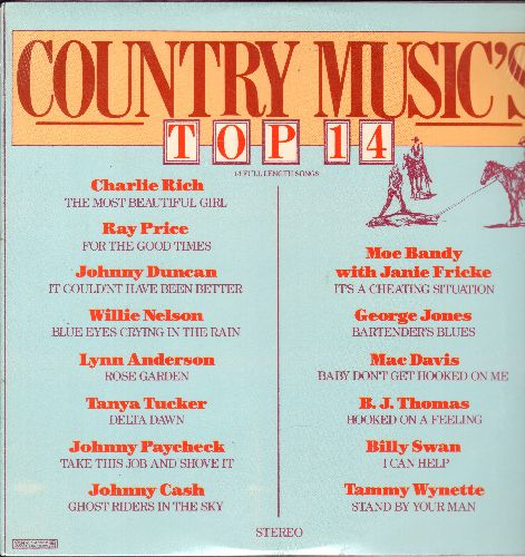 Bandy, Mo & Janie Fricke, Johnny Cash, Tanya Tucker, Willie Nelson, others - Country Music's Top 14: Stand By Your Man, Ghost Riders In The Sky, Rose Garden, Delta Dawn (vinyl LP record, SEALED, never opened!) - SEALED/SEALED - LP Records