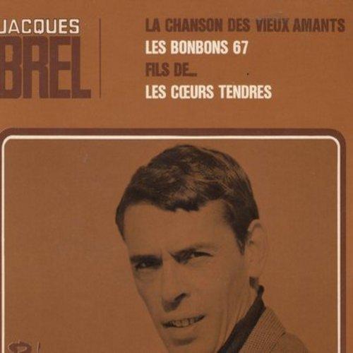 Brel, Jacques - La Chanson Des Vieux Amants/Les Bonbons 67/Fils De…/Les Coer Tendres (vinyl EP record with picture cover, French Pressing, sung in French) - NM9/NM9 - 45 rpm Records