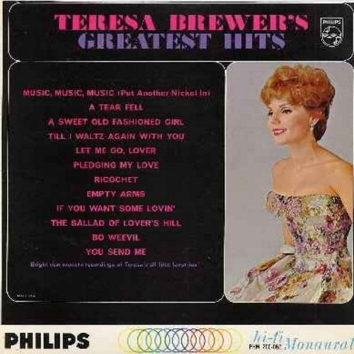 Brewer, Teresa - Greatest Hits: Music Music Music, Sweet Old Fashioned Girl, You Send Me, Pledging My Love, Let Me Go Lover (vinyl MONO LP record) - EX8/VG7 - LP Records