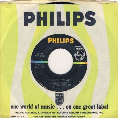 Brewer, Teresa - Simple Things (ULTRA-SENTIMENTAL LOVE BALLAD!)/Come On In (with Philips company sleeve) - NM9/ - 45 rpm Records