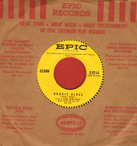 Briggs, Lillian - Boogie Blues/Sugar Blues (NICE condition with vintage Epic company sleeve) - NM9/ - 45 rpm Records
