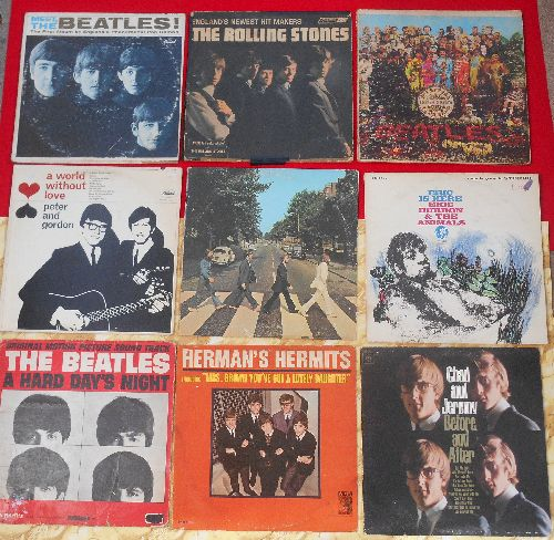 LP Covers Perfect Square - Perfect Square of 9 Vintage LP covers - British Invasion Theme. VERY NICE for decorating a Party Room or for a Themed Event. Covers have NO records! - VG6/ - Supplies