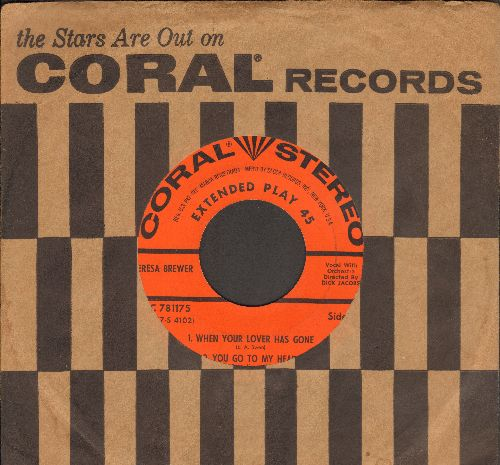 Brewer, Teresa - When Your Lover Has Gone/You Go To My Head/Mixed Emotions/Maybe You'll Be There (RARE vinyl STEREO EP record with vintage Coral company sleeve) - EX8/ - 45 rpm Records