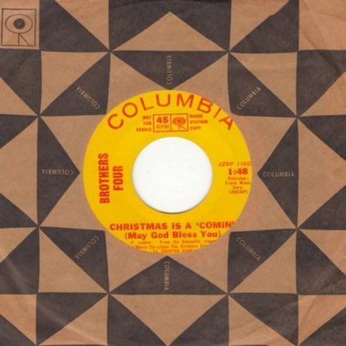 Brothers Four - Christmas Is Comin' (May God Bless You)/The Little Drummer Boy (DJ advance pressing with vintage Columbia company sleeve) - NM9/ - 45 rpm Records