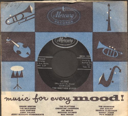 Brother Sisters - Alone (Why Must I Be Alone)/Pass Me The Mustard (with vintage Mercury company sleeve) - NM9/ - 45 rpm Records
