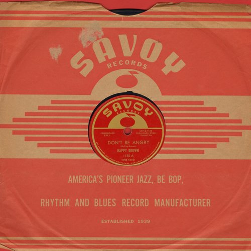 Brown, Nappy - Don't Be Angry/It's Really You (10 inch 78 rpm record with RARE Savoy company sleeve) - VG7/ - 78 rpm