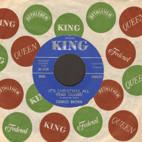 Brown, Charles - It's Christmas Time/Christmas Finds Me Lonely Wanting You (with vintage King company sleeve) - EX8/ - 45 rpm Records