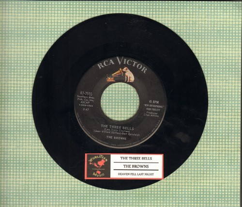 Browns - The Three Bells (Little Jimmy Brown)/Heaven Fell Last Night (first issue with juke box label) - VG7/ - 45 rpm Records