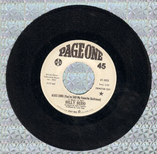 Budd, Billy - Alice Long (You're Still My Favorite Girlfriend)/The Straight Life - EX8/ - 45 rpm Records