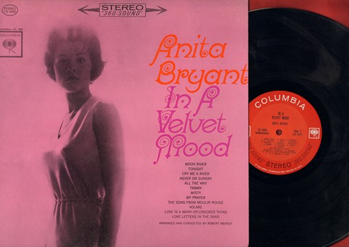 Bryant, Anita - In A Velvet Mood: Moon River, Tonight, Tammy, Never On Sunday, Volare, Song From Moulin Rouge (vinyl STEREO LP record) - NM9/NM9 - LP Records