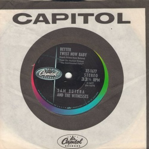 Butera, Sam & The Witnesses - Tag That Twistin' Dolly/Twuistin' The Blues (RARE 7 inch 33rpm record with small spindle hole, with vintage Capitol company sleeve) - NM9/ - 45 rpm Records