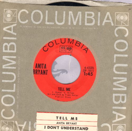 Bryant, Anita - Tell Me (DEFINITIVE 60s Girl Sound!)/I Don't Understand (with Columbia company sleeve and juke box label) - M10/ - 45 rpm Records