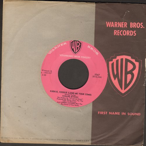 Byrnes, Edd & Connie Stevens - Kookie, Kookie, Lend Me Your Comb/You're The Top (pink label first issue with RARE vintage Warner Brothers company sleeve) (minor wos back) - NM9/ - 45 rpm Records