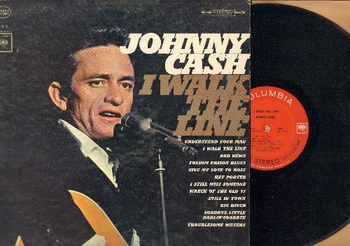 Cash, Johnny - I Walk The Line: Folsom Prison Blues, Hey Porter, Wreck Of The Old 97, Give My Love To Rose (vinyl STEREO LP record) - VG7/VG7 - LP Records