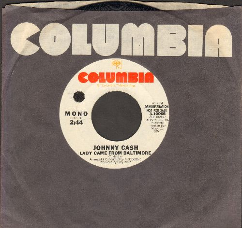 Cash, Johnny - Lady Came From Baltimore (double-A-sided DJ advance pressing with MONO and STEREO version, with Columbia company sleeve) - NM9/ - 45 rpm Records