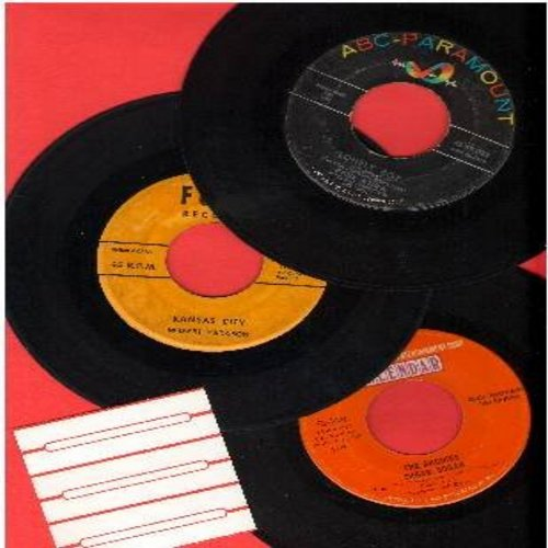 Archies, Paul Anka, Wilbert Harrison - Vintage Rock & Roll 3-Pack: 3 Original first issue 45s, all in very good or better condition. Hits include Sugar Sugar, Lonely Boy and Kansas City. In plain white paper sleeves with blank juke box labels. - VG7/ - 45