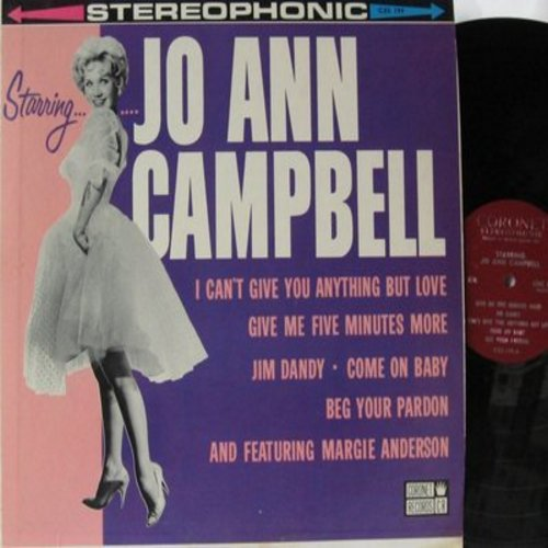 Campbell, Jo Ann, featuring Margie Anderson - Starring Jo Ann Campbell: Jim Dandy, Come On Baby, I Can't Give You Anything But Love, The More We Get Together, Follow That Girl, Double Headed Penny (vinyl STEREO LP record) - NM9/EX8 - LP Records