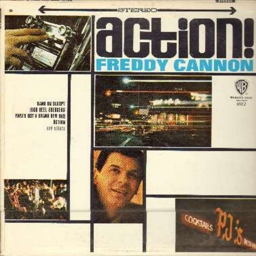 Cannon, Freddy - Action!: Hang On Sloopy, High Heel Sneakers, Papa's Got A Brand New Bag, Let Me Show You Where It's At, Beachwood City, It's Happening (vinyl STEREO LP record, NICE condition!) - M10/NM9 - LP Records